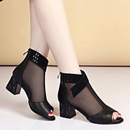 cheap Women's Shoes-Women's Shoes Cowhide Summer Comfort Boots Chunky Heel Block Heel Open Toe Stitching Lace for Casual Gold Black