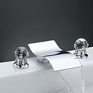 cheap Bathroom Sink Faucets-Contemporary Widespread Waterfall Brass Valve Two Handles Three Holes Chrome, Bathroom Sink Faucet