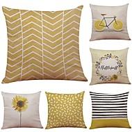 cheap Throw Pillows-6 pcs Linen Cotton/Linen Pillow Case Pillow Cover, Textured Beach Style Bolster Traditional/Classic