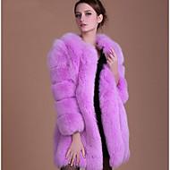 Dámské Jednobarevné Velké velikosti Jednoduchý Kožich-Podzim Zima Umělá kožešina Kulatý Dlouhý rukáv Dlouhé