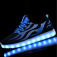 Men's Athletic Shoes Walking Light Up Shoes Light Soles PU Spring Fall Athletic LED Lace-up Flat Heel Black/Blue Black/White Flat