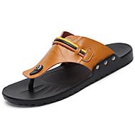 Pánské Sandály Mary Jane Kůže Léto Ležérní Přezky Plochá podrážka Černá Světle hnědá Tmavěhnědá Plochý