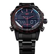 ASJ Herre Armbåndsur Quartz Japansk Quartz LED LCD Kalender Kronograf Vannavvisende Dobbel Tidssone alarm Rustfritt stål Band Luxury