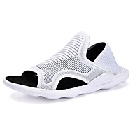 Masculino Sandálias Conforto Couro Ecológico Verão Branco Preto Rasteiro