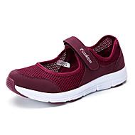 baratos Sapatos Femininos-Mulheres Sapatos Tule Verão / Outono Conforto Tênis Caminhada Plataforma Ponta Redonda Velcro Cinzento Escuro / Cinzento Claro / Vermelho