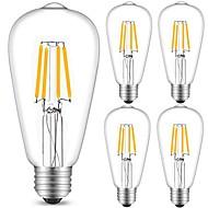 Χαμηλού Κόστους -5pcs 4 W 360 lm E26 / E27 LED Λάμπες Πυράκτωσης ST64 4 LED χάντρες COB Διακοσμητικό Θερμό Λευκό / Ψυχρό Λευκό 220-240 V / 5 τμχ / RoHs