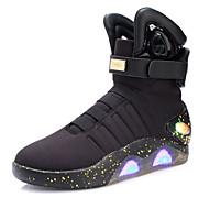 Miehet Bootsit Kävely Uutuus Välkkyvät kengät Neule Nahka Tyll Syksy Talvi Kausaliteetti Tarranauhalla LED Matala korko Musta BeesiAlle