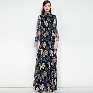 Žene Rad Swing kroj Haljina Jednobojni Cvjetni print Ruska kragna Maxi