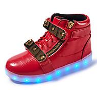 Jongens Sneakers Comfortabel Oplichtende schoenen Leer Lente Zomer Herfst Winter Sportief Causaal Wandelen Haak & Lus LED Lage hakWit