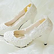baratos Sapatos Femininos-Mulheres Sapatos Renda Couro Ecológico Primavera Outono Chanel Sapatos De Casamento Salto Agulha Ponta Redonda Pedrarias Apliques Gliter