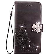 Θήκη Za Samsung Galaxy Utor za kartice Novčanik Štras sa stalkom Zaokret Reljefni uzorak Korice Cvijet Tvrdo PU koža za S6 edge S6 S5 S4