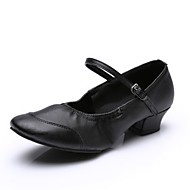 Žene Plesne tenisice Eko koža Puni potplat Niska potpetica Plesne cipele Crn / Fuksija / Crvena / Vježbanje