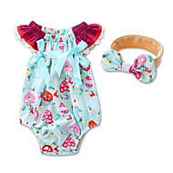 Χαμηλού Κόστους First Time Mom-Μωρό Κοριτσίστικα Ένα Κομμάτι Βαμβάκι Γεωμετρικό Μοντέρνα Καλοκαίρι Κοντομάνικο Λουλουδάτο Επίσημο ρούχο Θαλασσί