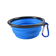 ネコ 犬 餌入れ/水入れ ペット用 ボウル&摂食 携帯用 折り畳み式 イエロー レッド グリーン ブルー ピンク