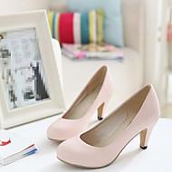 baratos Sapatos de Tamanho Pequeno-Mulheres Sapatos Couro Ecológico Primavera Conforto Saltos Salto Agulha Ponta Redonda Bege / Rosa claro
