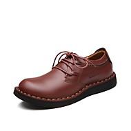 Masculino Oxfords Caminhada Conforto Sapatos formais Couro Outono Inverno Casual Cadarço Café Castanho Escuro Rasteiro