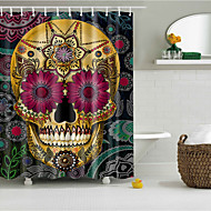cheap Bathroom Products-Shower Curtains & Hooks Polyester Skull Hand Made