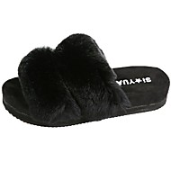 Women's Shoes Feather/ Fur Fall Comfort Slippers & Flip-Flops Flat Heel Round Toe For Dress Green Gray Black