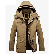 Kaput Muške,Jednostavan Ležerno/za svaki dan Jednobojni-Dugih rukava S kapuljačom-Zima Normalne dužine Kašmir Pamuk