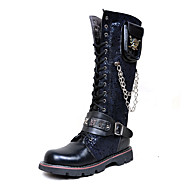 Men's Shoes Synthetic Fall Winter Fashion Boots Motorcycle Boots Combat Boots Boots Knee High Boots For Casual Party & Evening Black