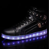 Herre sko PU Vår Høst Lysende sko Treningssko Snøring LED Til Avslappet Hvit Svart Rød