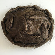 PANSY Men's HairPiece Toupee Human Hair Replacement Systems Fine Mono Wavy Toupee 8x10inch Medium Brown Color