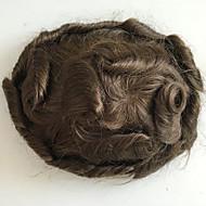 pırıltılı erkekler saç kesimi tüyleri insan saçı değiştirme sistemleri ince tek renkli dalgalı toupee 8x10inch orta kahverengi renk