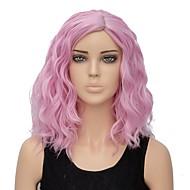 Syntetiske parykker Vand Bølge Pink Syntetisk hår Ombre-hår Pink Paryk Dame Kort Lågløs Pink