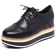 Feminino Sapatos Couro Ecológico Primavera Conforto Oxfords Rasteiro Ponta Redonda Cadarço Para Casual Branco Preto