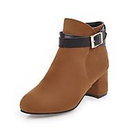 Feminino Sapatos Pele Nobuck Courino Outono Inverno Botas da Moda Curta/Ankle Botas Salto Grosso Ponta Redonda Botas Curtas / Ankle