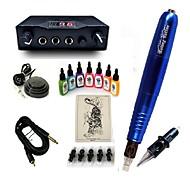 スタータータトゥーキット 1 xライニングとシェーディング用ロータリー墨機械 LED電源 5×タトゥー針RL3 コンプリートキット
