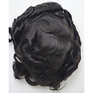 Men's Toupee Human Hair 1B  Hairpiece Slight Wave Hair Replacement System for Men 7inch*9inch Hair Toupee