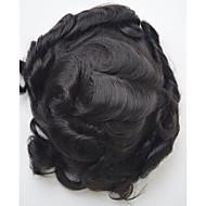 erkekler toupee insan saçı 1b saç kesimi hafif dalga saç yerine koyma sistemi erkek 7inç * 9inch saç toupee