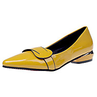 cheap Women's Flats-Women's Shoes Patent Leather PU Spring Summer Comfort Basic Pump Light Soles Heels Low Heel Round Toe for Casual Office & Career Black