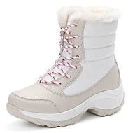 Women's Shoes PU Winter Snow Boots Boots Flat Heel Round Toe Lace-up For Casual Red Beige Black