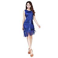 ラテンダンス ワンピース 女性用 ダンスパフォーマンス スパンデックス スパンコール 1個 ノースリーブ ナチュラルウエスト ドレス