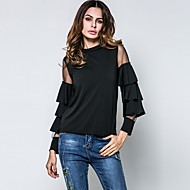 Majica s rukavima Žene Jednobojni Flare rukav Uski okrugli izrez Pamuk Umjetna svila