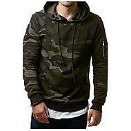 Men's Plus Size Sports Active / Boho / Military Long Sleeve Hoodie - Camouflage Print Hooded Gray XL / Fall / Winter