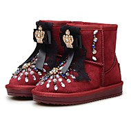 cheap Girls' Shoes-Girls' Shoes Leather Winter Flower Girl Shoes Snow Boots Comfort Boots Mid-Calf Boots Rhinestone Beading Sparkling Glitter for Party &
