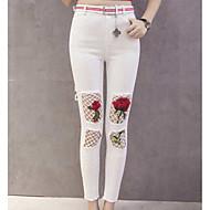 Feminino Sensual Cintura Alta Micro-Elástica Justas/Skinny Calças,Skinny Floral