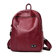 Women Bags All Seasons PU Backpack Zipper for Casual Blue Black Bronze Purple Wine