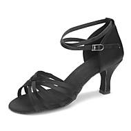baratos Sapatilhas de Dança-Mulheres Sapatos de Dança Latina Cetim Sandália / Salto Presilha / Vime Salto Cubano Personalizável Sapatos de Dança Preto