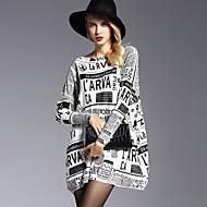Mulheres Sofisticado Moda de Rua Pulôver - Palavras, Estampado