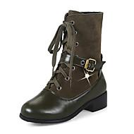 baratos Sapatos de Tamanho Pequeno-Mulheres Sapatos Pele Nobuck Courino Inverno Outono Botas da Moda Coturnos Botas Salto Robusto Salto de bloco Ponta Redonda Botas Cano