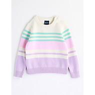 billige Sweaters og cardigans til babyer-Pige Bluse Stribe, Bomuld Efterår Langærmet Stribet Lyseblå