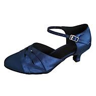 billige Kustomiserte dansesko-Dame Moderne sko Sateng Sandaler Kustomisert hæl Dansesko Beige / Grå / Marineblå / Innendørs