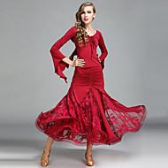 Standardní tance Úbory Dámské Taneční vystoupení Krajka Ledové hedvábí Plisované Dlouhé rukávy Přírodní Sukně Vrchní část oděvu