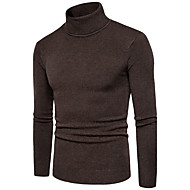 Men's Daily Solid Colored Long Sleeve Plus Size Regular Pullover, Turtleneck Fall / Winter Beige / Navy Blue / Gray XL / XXL / XXXL