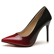 女性用 靴 PUレザー 秋 ベーシックサンダル ヒール スティレットヒール ポインテッドトゥ グレー / レッド