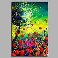 billiga Blom-/växtmålningar-Hang målad oljemålning HANDMÅLAD - Blommig / Botanisk Artistisk Rustik Parfymerad Duk